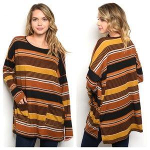 Oversized Striped pocket top